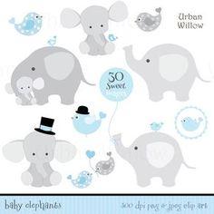 Juego de BABY Boy elefantes Clip art & digitales papeles en