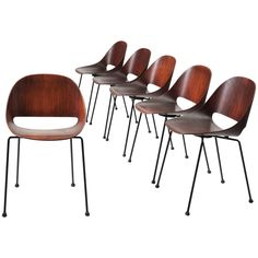 Leon Stynen Set of Six Belgian Dark Stained Bentwood Chairs | From a unique collection of antique and modern chairs at https://www.1stdibs.com/furniture/seating/chairs/