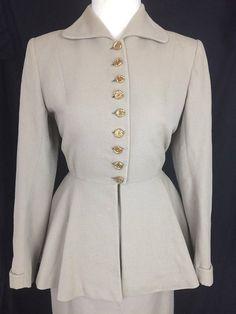 Original 1940's 11011 Wool Suit UK 6 or 8