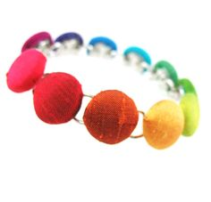 Rainbow Fabric Covered Button Bracelet  Silk by tigerlillyshop,