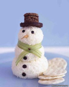 Cheesy Snowman ~ Celery Scarf, olive buttons, carrot nose and pumpernickel bread for the hat . To Cut & Fun