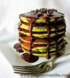 Vegan Matcha Chocolate Chip Pancakes. Because chocolate and Matcha are an unbeatable combination! Enjoy this stack for your next breakfast. #matcha #breakfast #pancakes