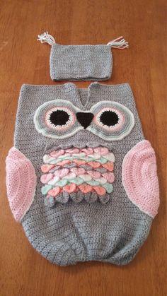 Owl cocoon photo prop by KuteCraftyKrochet on Etsy