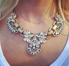 Beautiful vintage antique gold crystal encrusted statement necklace.