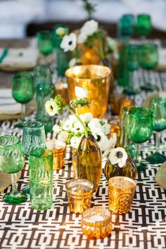 Green and gold with a black and white table cloth: http://www.stylemepretty.com/living/2015/02/26/51-reasons-black-and-white-is-having-a-moment/