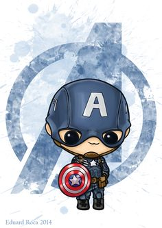Captain America #cute #kawaii #avengers #nikochancomics