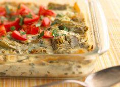 Healthified Creamy Ricotta- Artichoke Lasagna