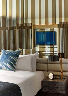 Mirror behind bedhead Meyer Davis — W Hotel Lakeshore Condo Bedroom, Bedroom Wall, Bed Room, Philippe Starck, Awesome Bedrooms, Beautiful Bedrooms, Stylish Bedroom, Hospitality Design, Room Lights