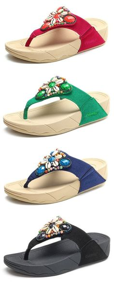 1abb38274 Royal Stewart Tartan Flip Flops. See more. US 21.23 Bohemia Beaded Crystal  Shell Platform Flip Flops Beach Slippers Sandals For Sale