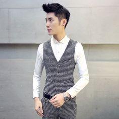 Barato S ~ 4XL men ' S vest cavalheiro britânico cinto casual xadrez de lixa grossa bolso do colete costura ( há outro terno calças para venda ), Compro Qualidade Coletes diretamente de fornecedores da China:             Por favor, note:                                    Usamos Ásia size, cerca de dois tamanho menor do que us/