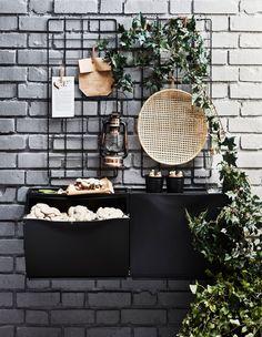 Schuhregal kreativ nutzen: Ideen An IKEA TRONES storage in black on a brick wall. Out grow mushrooms Ikea Trones, Home Design, Design Design, Design Ideas, Small Nightstand, Kitchen Wrap, Ikea Wall, Ikea Ikea, Bedding