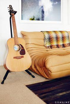 Ligne Roset Sofa and Guitar