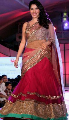 Indian Bollywood Designer Wedding Red Nett Lehenga Choli Best For Online Shopping-KBL-23272