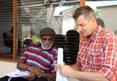 Engrossed in conversation: Andimba Toivo ya Toivo and Mannfred Goldbeck