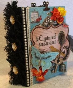 Any themed butterfly memory premade shabby vintage scrapbook album by Cindy