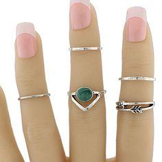 Faux Gem Geometric Love Arrow Ring Set #CLICK! #clothing, #shoes, #jewelry, #women, #men