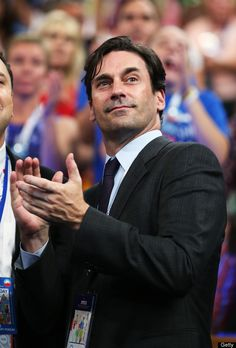 Actor Jon Hamm (R) at the Democratic National Convention.