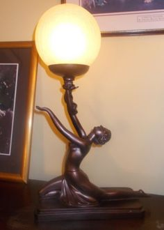 ART-DECO-LAMP-BRONZE-NAKED-NUDE-GLASS-GLOBE-LADY-WOMEN-FIGURINE-VINTAGE