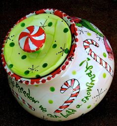 #Christmas Cookie Jar - painted at #TheMadPotter-West (#Houston)
