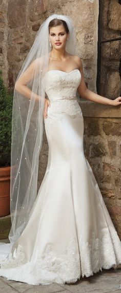 Strapless fit to flare wedding dress