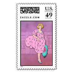 AUDREY: Art Deco Fashion in Pink and Blue Stamps