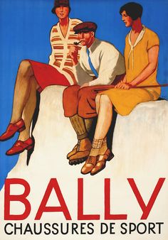 Bally Chaussures de Sport (summer hikers) by Emil Cardinaux (1920)    Shop original antique posters online: www.internationalposter.com/