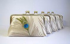 Bridesmaid gift idea, EllenVintage Silk, Peacock Clutch, set of 5, Wedding clutch, Bridesmaid clutch