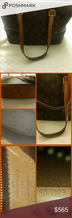 Authentic Louis Vuitton  Cabas Piano Very nice only thing is handles are patina.  Dark as seen in pics.  Can probably be cleaned and conditioned but I don't want to mess it up..  see bottom also.  No rips/tears.  Zipper wlrks Louis Vuitton Bags