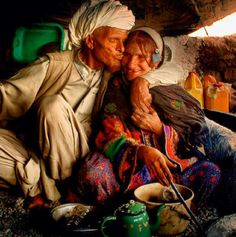 Afghan nomads showing their love for each other.