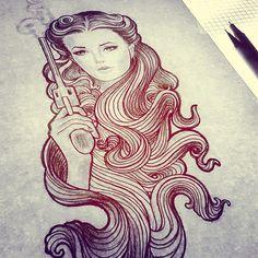 Lady with gun. Tattoo stencil.
