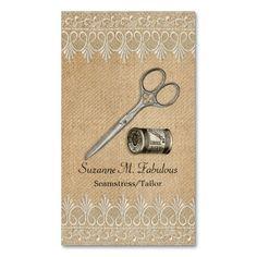 Burlap Lace Vintage Seamstress Tailor Scissors Business Cards