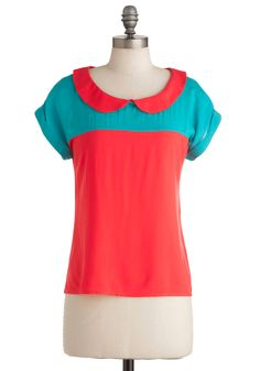 Pick a Flavor Top - Mid-length, Casual, Blue, Peter Pan Collar, Short Sleeves, Neon, Jersey, Collared, Colorblocking, Multi, Coral