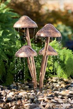 Outdoor , Extravagant Modern Outdoor Fountain for Enhancing Your Garden's Beauty : Unique Water Fountain With Mushroom Design ~ A fairy bath!