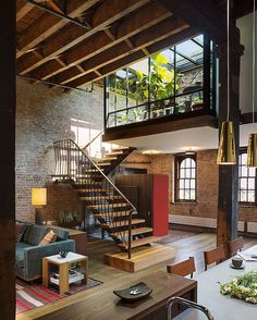 One of the nicest lofts i have ever seen. Loft by Andrew Franz Patio Interior, Interior Exterior, Interior Architecture, Interior Ideas, Beautiful Architecture, Bathroom Interior, Computer Architecture, Brick Interior, Interior Stairs