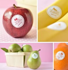 Wish we could send eatables for school valentines day. labels for pieces of whole fruit-- such a fun, simple idea!!