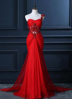 One Shoulder Prom Dress with Beaded Flowers, Unique Red Prom Gowns, Mermaid Chiffon Prom Dress with Cut-out