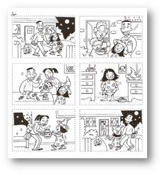 Images séquentielles sur Halloween Ready-made story boards Theme Halloween, Halloween Stories, Halloween Activities, Holidays Halloween, Halloween Crafts, Sequencing Pictures, Sequencing Cards, Story Sequencing, Sequencing Events