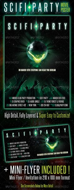 """Scifi Party Movie Poster #GraphicRiver This is a professional Designed Party Flyer Poster with a MOVIE POSTER Look. This flyer was inspired by the original movie poster from the classic 1979 """"ALIEN"""" film from Ridley Scott. This will look great in any type of event, such as: party, concert, gig, show, karaoke, bar, etc. PLUS: Included a mini flyer / Invitation in 210×100 mm format, with the same look! It comes in full resolution 300 dpi, in A3 format plus bleed, that you can easily resize to…"""