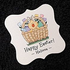 Easter Tags, Chick in Basket with Tulips, 25 Personalized 2 x 2 inch Easter Gift, Happy Easter, College Discounts, Funny Sweaters, Discount Purses, Discount Sites, Discount Clothing, Diy Shirt, Gift Tags
