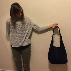 Italian suede hobo bag Dark Navy hobo bag. Made in Italy and purchased in Positano Italy in December 2015. Lightweight and easy care. Looks brand-new. I need a purse it's a little bit larger. Italian Bags Hobos