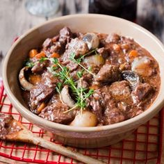 Beef bourguignon A classic French stew. Vegetable Puree, Vegetable Seasoning, Beef Chuck Steaks, Bourguignon Recipe, Stuffed Portabello Mushrooms, Curry Stew, Easy Weekday Meals, Pickled Onions, Recipe Search