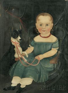 Folk art portrait. Attributed to Sturtevant J. Hamblen (Massachusetts, 1806-1873). Portrait of Young Girl Seated in a Rocking Chair with Her Dog.