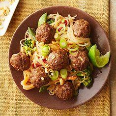 Peanut-Sauced Noodles with Mini Meatballs