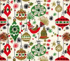 Birds and Ornaments wrapping paper