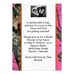 pink and camo wedding invitation with buck and doe heart hunting, invitation samples