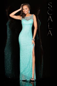 #SCALA Spring 2016 style 48552 Aqua! #scalausa #spring2016 #prom2016 #gown #promdress #eveningwear #dress #sequins #specialoccasion #prom2k16 www.scalausa.com