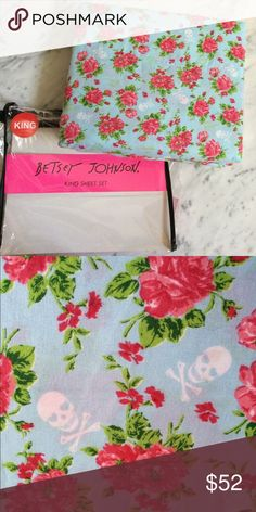 Betsey Johnson Light Blue Floral Skulls KING Sheet King size sheet set, which includes one long fitted sheet, flat sheet, and two shams!  This pattern is a light blue background with pink floral/roses and small white crossbones! Brand new in original packaging. Price firm, no trades. Betsey Johnson Other
