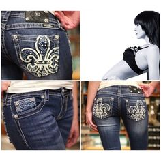 Miss Me Blue Beauty's Classic meets style in these Miss Me Bootcut Jeans with White Fleur de Lis and Blue Lattice Pocket. You will love how diverse and amazing these Miss Me Jeans are. You can literally wear them anywhere and they will flatter your bottom and curves. The classic 5-pocket style on our Miss Me Bootcut Jeans with White Fleur de Lis and Blue Lattice Pocket is simply fabulous ~ inseam 34 Miss Me Jeans Boot Cut