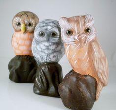 Vintage handpainted owl figurines