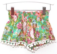 I like a hint of edginess in my kids clothing, I'm not talking straight out rock band references but something that is just a tad cooler than elephants and Baby Girl Patterns, Sewing Patterns Girls, Fashion Sewing, Kids Fashion, Pom Pom Shorts, Boho Girl, Cute Baby Clothes, Have Time, Boho Shorts